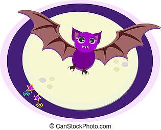 A purple Bat flies through the night.