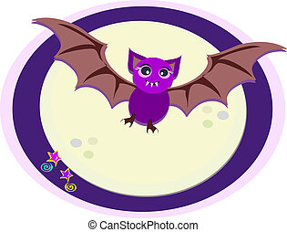 Purple Bat in Moonlight - A purple Bat flies through the...