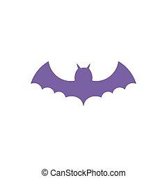 purple bat open wings on white background