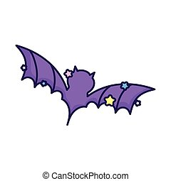purple bat open wings stars