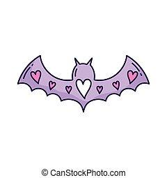 purple bat open wings with hearts love