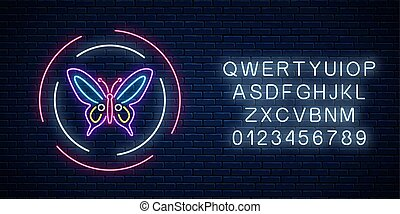 Purple batterfly glowing neon sign in round frames with alphabet. Spring flyer emblem in circle.