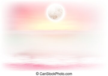 Purple beach with full moon at night. EPS10 vector.