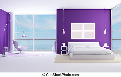 purple bedroom of a modern sea houese-rendering-bedroom of a...