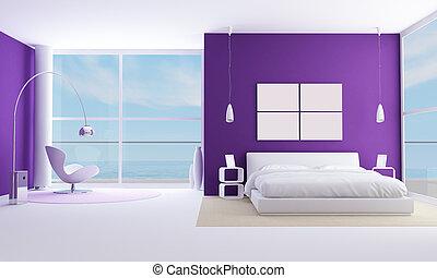 purple bedroom of a modern sea houese-rendering-bedroom of a...