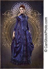 Purple Belle Epoque Gown, 3d CG - 3D computer graphics of a...