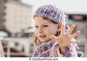 Purple Beret girl Shows Her Fingers