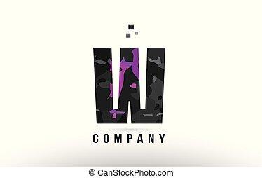 purple black alphabet letter w logo design