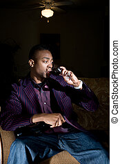 Purple Blazer and Red Wine - a hip young african american...
