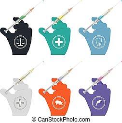 purple., bleu, gants caoutchouc, injecter, orange, vert