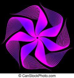 Purple blue flower fractal on black background