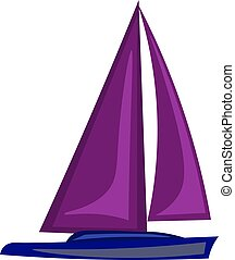 Purple boat, illustration, vector on white background.