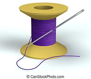 purple bobbin with needle isolated on white