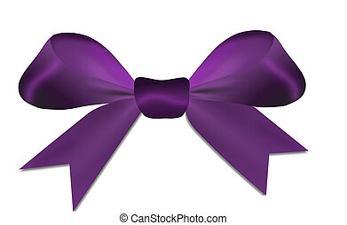 Purple bow isolated on a white background