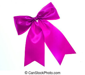 Purple bow isolated on white.