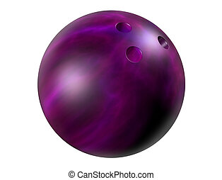 Purple bowling ball - Isolated illustration of a shiny ...