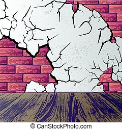 Purple brick wall with laminate floor