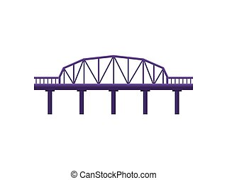 Purple bridge on white background. Vector illustration.