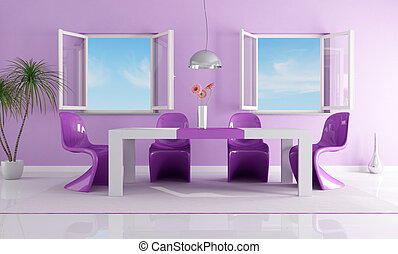 purple bright dining room