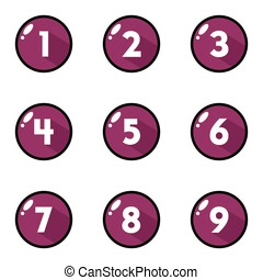 Purple Button Number Icon