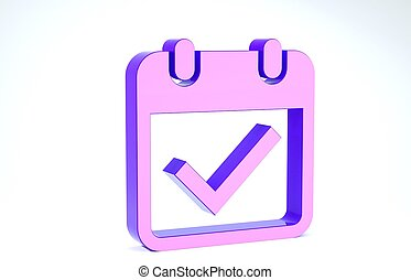 Purple Calendar with check mark icon isolated on white background. 3d illustration 3D render