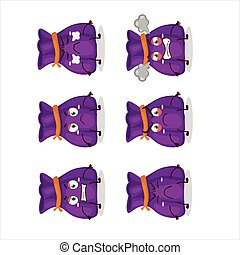 Purple candy sack cartoon character with various angry expressions