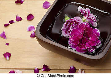 purple carnation place in a container with water