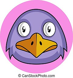 Purple cartoon bird vector illustration on white background