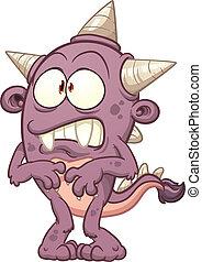 Purple cartoon monster. Vector clip art illustration with...