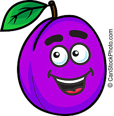 Fresh purple cartoon plum fruit with a happy face and green leaf isolated on white