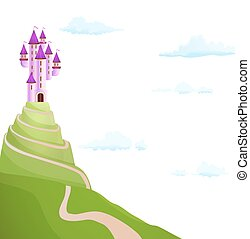 purple castle on the hill with road. vector