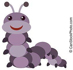 Purple caterpillar with happy face