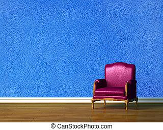 Purple chair in blue minimalist interior
