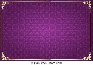 purple chinese background and gold decoration - Vector...