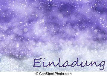 Purple Christmas Background, Snow, Snowflakes, Einladung...