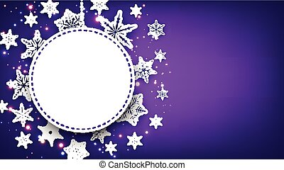 Purple Christmas background with snowflakes.