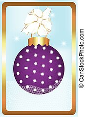 Christmas Ball with ribbon snowflakes and golden frame