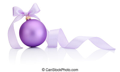 Purple Christmas Bauble with ribbon bow Isolated on white background