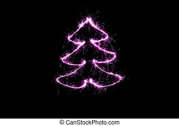 purple Christmas tree made by sparkler on a black background