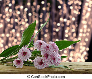 Purple Chrysanthemums branch on wooden board with blur bokeh background