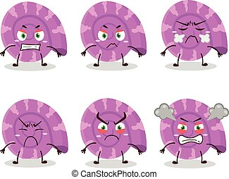 Purple clam cartoon character with various angry expressions