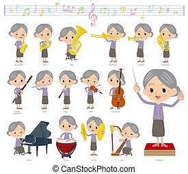 A set of senior women on classical music performances. There are actions to play various instruments such as string instruments and wind instruments. It's vector art so it's easy to edit.