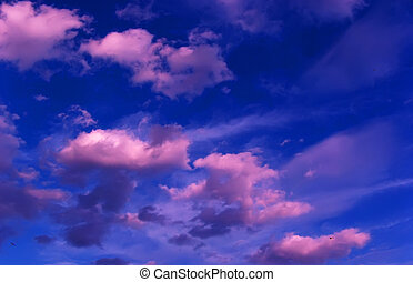 Purple clouds in sunset
