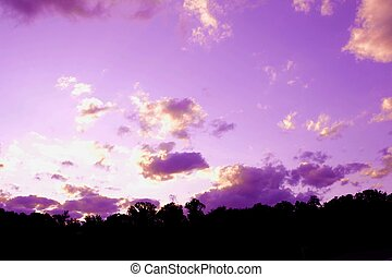 Purple clouds over the mountains