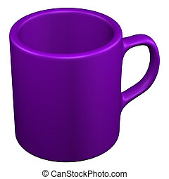 Purple coffee cup, isolated on white background.
