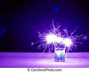 Purple color fireworks background