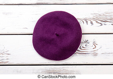Purple color french beret for women.