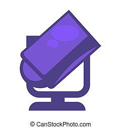 Purple colored searchlight - Vector illustration of vogue...