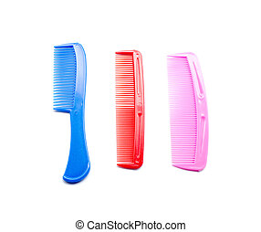 Purple comb isolated on white close up look