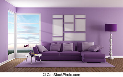 Purple contemporary living room with sofa and windows - rendering